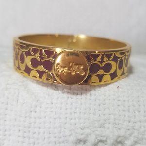 COACH Burgundy/Gold Hinge Bangle Bracelet